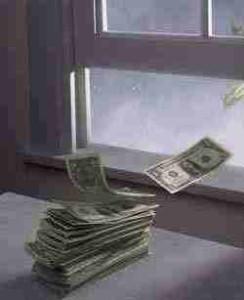 pieniądze wylatują
