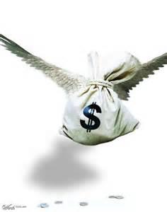 pieniądze w worku ze skrzydłami